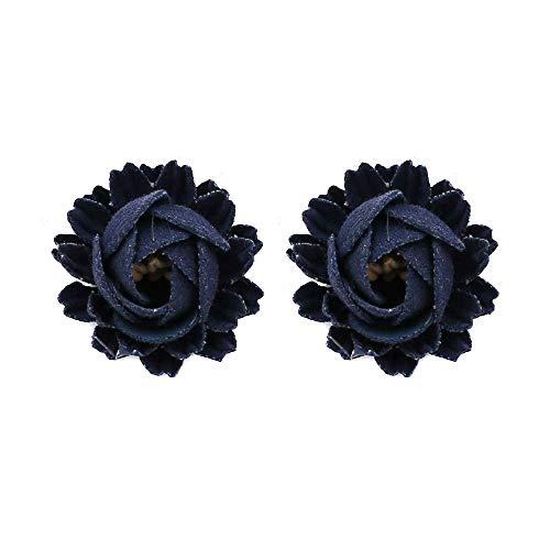 TIANYOU Novelty Jewelry-Women Earring Studs Earring Drop Earrings Ear Line,Korean Version of Handmade Flower Earrings Navy, Personality Wild Flower Fabric Earrings Street Beat Flower Earrings
