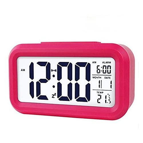 DWAC Despertador Digital LED, Reloj Despertador para Dormitorio, Retroiluminación Snooze Mute Calendar Desktop Mesa Electrónica Relojes De Escritorio Reloj Inteligente (Color : Red)