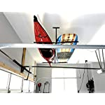 """StoreYourBoard Double SUP & Surf Ceiling Storage Rack, Hi Port 2 Overhead Hanger Mount, Home & Garage 13 DOUBLE SUP CEILING STORAGE: Two-sided overhead rack holds 2 paddleboards for space-efficient storage! HEAVY-DUTY STEEL: Built to hold up to 150 lbs (75 lbs per side), that's multiple boards at home, garage, or paddle shop. ADJUSTABLE HEIGHT: Adjust the center column adjust from 10"""" to 18"""" tall to provide you exactly the storage thickness that fits your space and storage needs; remove the arms with the push of a button."""