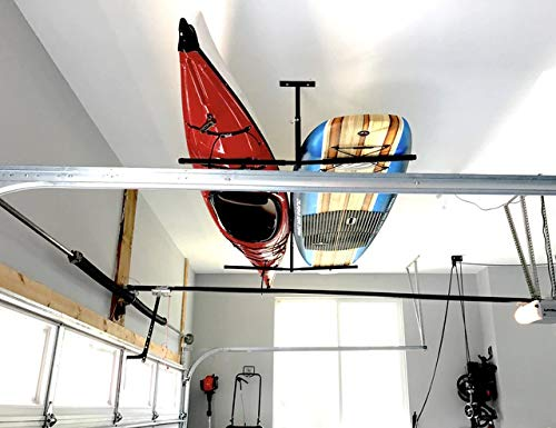 """StoreYourBoard Double SUP & Surf Ceiling Storage Rack, Hi Port 2 Overhead Hanger Mount, Home & Garage 5 DOUBLE SUP CEILING STORAGE: Two-sided overhead rack holds 2 paddleboards for space-efficient storage! HEAVY-DUTY STEEL: Built to hold up to 150 lbs (75 lbs per side), that's multiple boards at home, garage, or paddle shop. ADJUSTABLE HEIGHT: Adjust the center column adjust from 10"""" to 18"""" tall to provide you exactly the storage thickness that fits your space and storage needs; remove the arms with the push of a button."""