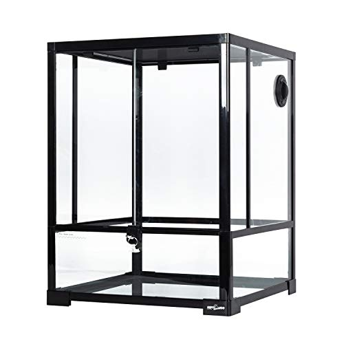"REPTI ZOO Reptile Glass Terrarium Front Opening Terrarium with Double Hinge Door & Top Screen Ventilation, 30 Gallon Tank Large Reptile Terrarium 18"" x 18"" x 24""(Knock-Down)"