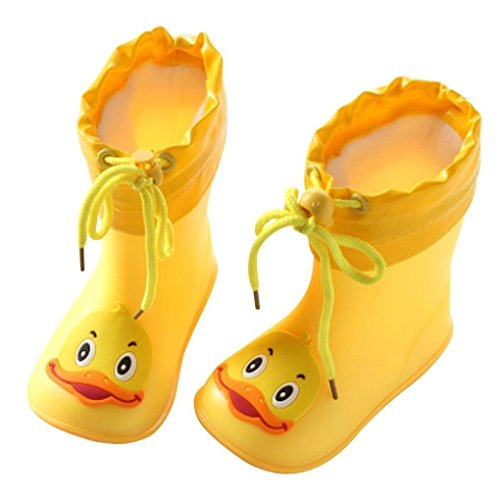 Quaanti Children's Rubber Boots Baby Rain Boots Infant Kids Cartoon Waterproof Non-Slip Rainboots Rain Shoes for Boy Girl (Yellow, US:6.5(Age:2-3T))