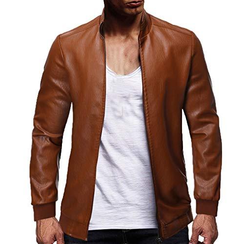 Bomber Jacket Men's Fashionable Pure-Color Locomotive Coat Collar Coat Bomber Jacket for Men Khaki
