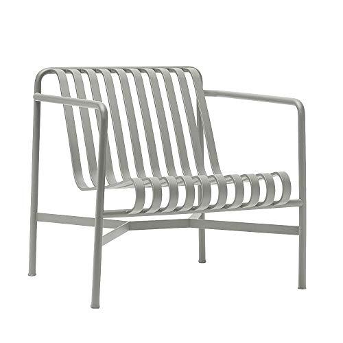 HAY Palissade Lounge stoel laag, Dusty grijs gepoedercoat 73 x 70 x 81 cm