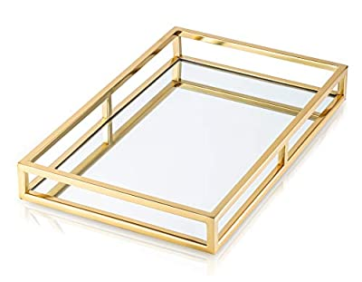 Large Mirrored Decorative Tray with Gold Trim