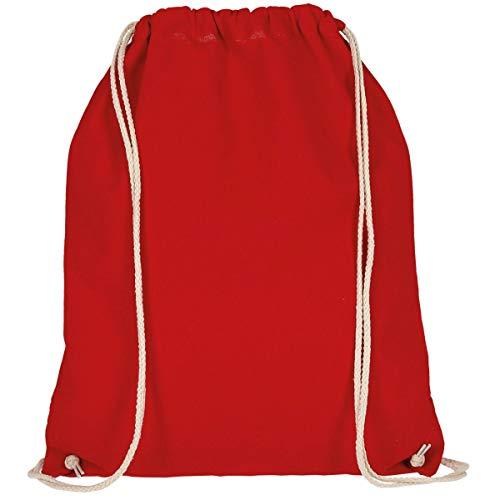 MyShirt Baumwoll Turnbeutel 38 x 46cm unbedruckt mit Kordelzug - 19 Farben - Jutebeutel Oeko-TEX® geprüft Gym Sack zum bemalen, Farbe:dunkelrot