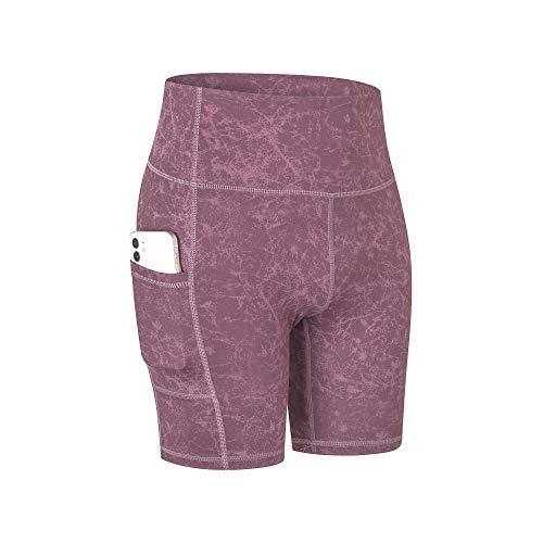 COTOP Pantalones Cortos de Yoga para Mujeres, Pantalones Cortos Deportivos de Cintura Alta de Verano con Bolsillos para Entrenamiento de Gimnasia, Fitness, Trotar, Correr, Motorista