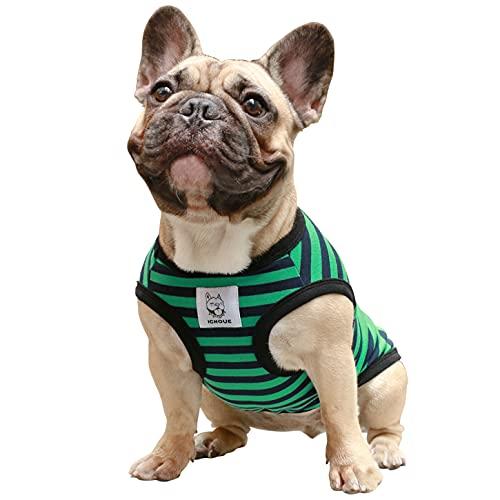 iChoue Striped Dog T Shirts Clothes for Medium Size Boy Male Vest Tank TopFrench Bulldog Frenchie Pug English Boston Terrier Pitbull Green Black Strips - M