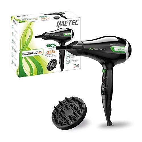 Imetec Eco SE9 1000 - Secador de pelo con tecnología ECO, reducción del consumo energético, 8 combinaciones aire/temperatura, difusor, 666,5 g