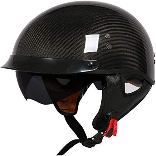 ZHXH Harley Motorcycle Half Helmet Adult Carbon Fiber Motorcycle Helmet Cruiser Sun Visor Quick Release, Built-in Retractable Lens Scooter Bike Dot Approved Motorcycle Helmet