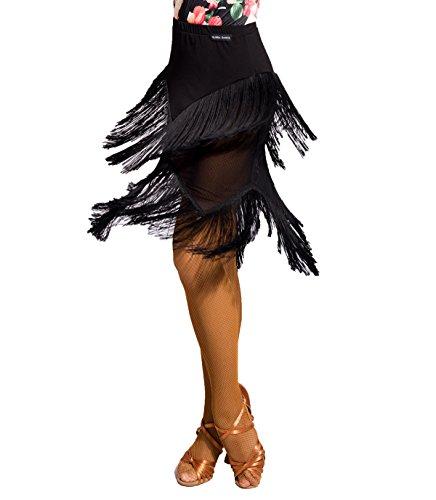 SCGGINTTANZ G2030 Latein Moderner Der Ball Tanz Gesellschaftstanz Professionell halbe Perspektive Quasten nähen Rock ((SBS) Black, L)