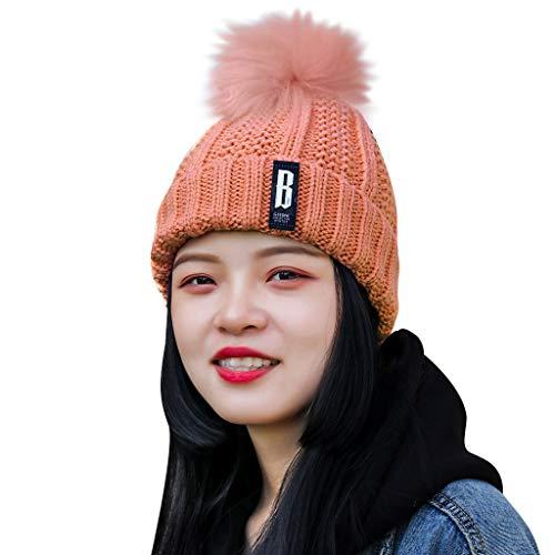 Yowablo Mode Frauen warme feste verdicken Wolle Hut Streifen stricken winddichte Kappe (3Rosa)
