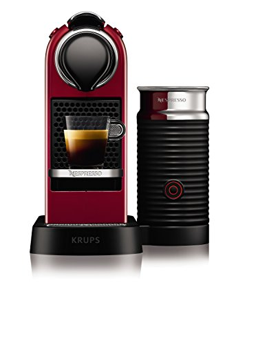 Krups YY2730FD Machine à Café Nespresso Citiz & Milk avec Mousseur à Lait Aerocino Espresso Cappuccino Lungo Capsules 19 Bars Réservoir 1L Cafetière Rouge