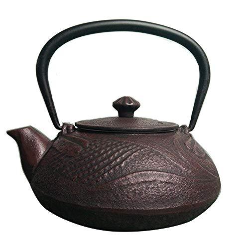 Tetera Hierro Fundido 550ml Tetera de hierro fundido Caldera, juego de té sin la capa de época de estilo japonés, antioxidante Mejorar la Calidad del Agua ( Color : Marrón , tamaño : 550ml )