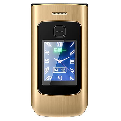 Warmdeco Teléfono con Tapa de Pantalla Dual Sistema 2G Diseño de Tarjeta SIM Dual de 2,4 Pulgadas Memoria extendida de 4800 mAh Teléfono móvil de hasta 32 GB