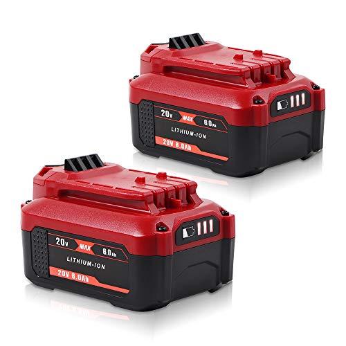 Jialipok 6000mAh 20V Battery for Craftsman 20V V20 Lithium Ion Battery CMCB202 CMCB202-2 CMCB204 CMCB204-2 Cordless Battery (2Pack)