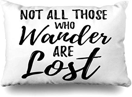 GFGKKGJFF0807 Funda de cojín con Frase Positiva «Not All Who Wander Lost Vintage Travel Motivation Frase White Black Love» de 40 x 60 cm para decoración del hogar, sofá, Funda de Almohada, cumpleaños