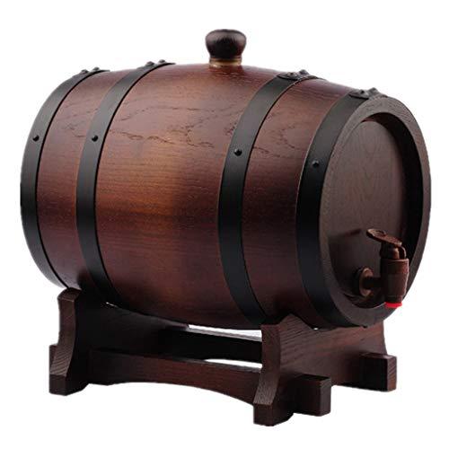 Barril de Roble Barrica de Roble Envejecido, Cubo de Almacenamiento de Roble Puro Resistente al Desgaste y Duradero Adecuado for Preparar Vino y Almacenar Brandy de Whisky(3L). Vino, cerveza, sidra, w