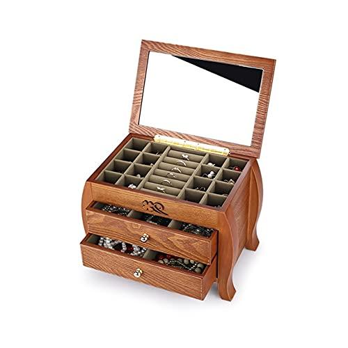 HOLPPO-URG Caja de Almacenamiento Tallada a Mano,Caja de joyería de Madera de 3 Capas,Caja de joyería de Escritorio Espejo,Caja de Almacenamiento Simple,Estilo Chino Retro Europeo Grande URG