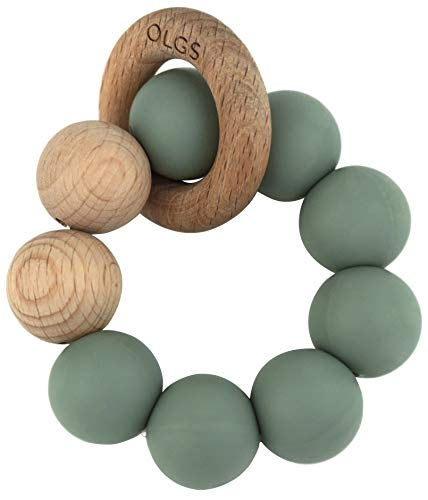 Beißring aus Silikon und Holz für Babys & Kleinkinder   Pastell Grün Greifling zum Zahnen Beißspielzeug   BPA-frei und einfach zu reinigen   Greifring (Sage)