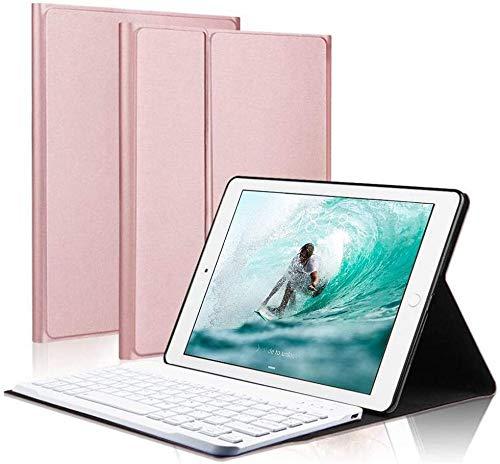 Funda con Teclado para iPad para iPad de 9,7 Pulgadas 2018 (6.a generación) Funda para iPad 2017 (5.a generación) para iPad Pro 9.7 con Teclado inalámbrico Desmontable (Rosa Dorado)