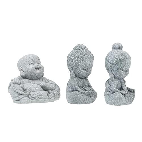 YARNOW 3 Piezas de Estatuas de Buda Sonriente Figuras de Maitreya Escultura de Buda Sentado en Piedra Arenisca Decoración para La Fortuna Y La Salud Adorno de Feng Shui para La Oficina