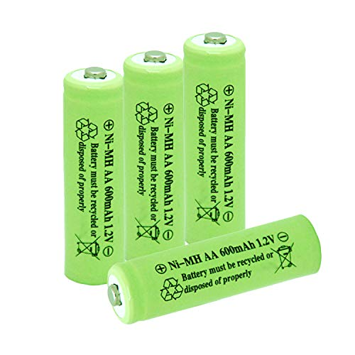 Ni-Mh AA 600mAh 1.2V Rechargeable Battery for Outdoor Solar Lights Garden Lamp(4 Pack)