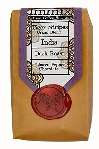 Indian Tiger Stripes Blend, Dark Roast, Tabak Pepper Chocolade - Immix Artisan Coffee Roasters - Small Batch - Perfect cadeau voor koffie liefhebber 225g gemalen (Cafetiere/Filter)