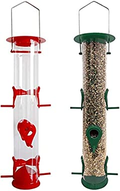 MIXXIDEA Tube Bird Feeders Hanging, Wild Bird Feeders for Outdoors Premium Hard Plastic with Hanger and 6 Port, Hanging on Bi