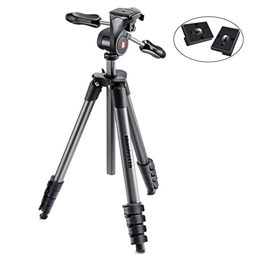 Manfrotto MKCOMPACTADV-BK Compact Advanced Tripod with 3-Way Head (Black) – with Two ZAYKiR Quick Release Plates for The RC2 Rapid Connect Adapter