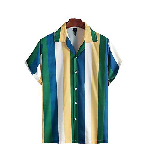 Camisa con Botones y Solapa de Muesca para Hombre, Moda a Rayas, Tendencia a Juego, Simplicidad, Informal, Camisa de Manga Corta al Aire Libre XXL