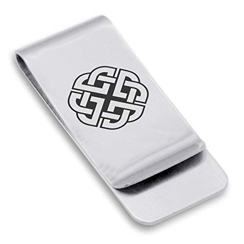 Comfort Zone Studios Stainless Steel Celtic Shield Knot Classic Slim Money Clip Credit Card Holder, Silver