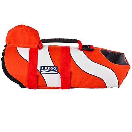 SILD Chaleco Salvavidas para Perro Chaleco de Seguridad Ajustable Salvavidas Chaleco Flotador para Mascota arnés de natación Perro Chaleco Salvavidas(L)