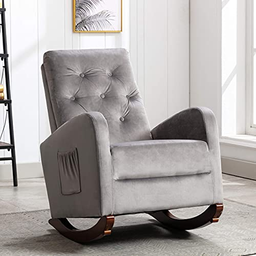 AUTOKOLA Home Rocking Accent Chair Tufted Upholstered Luxury Velvet Lounge Chair Glider Rocker Armchair with Side Pocket for Nursery Living Room Bedroom Solid Wood Frame for 300 lbs Strong Support