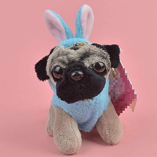 N/D Kuscheltier Blue Rabbit Stoff Mops Hund Tiere ausgestopft Anhänger Schlüsselring Plüsch SpielzeugWelpe Rucksack Dekoration Schlüsselbund/Schlüsselhalter Geschenk