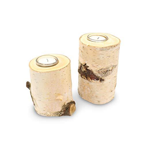 GREENHAUS Teelichthalter Birke mit Glas 10 cm 9 Stück Handarbeit aus Deutschland Birkenstamm Kerzenhalter Holz Teelicht Dekoration Holzdeko