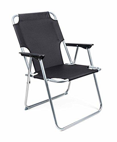 Lifetime Camping Klappstuhl, Metallgestell, Textilbespannung, Design klassisch, faltbar, Gewicht ca. 2,25 kg, lieferbar in den Farben Schwarz oder Grau (Schwarz)