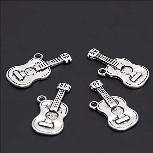 FGHHT 15 Piezas deamuletos de Guitarra de Color Plateado para Hacer Instrumentos Musicales Colgante Llavero Collares artesanía