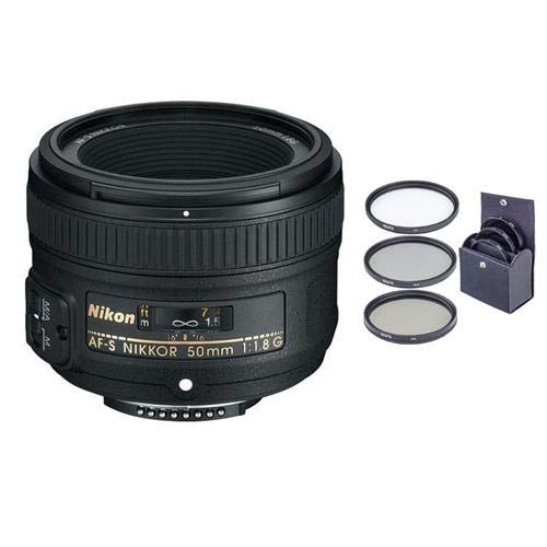 Nikon 50mm f/1.8G AF-S NIKKOR Lens U.S.A. Warranty with Free 58mm Filter Kit (UV/CPL/ND2)