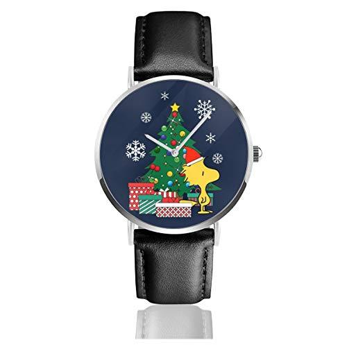 Unisex Business Casual Woodstock rund um den Weihnachtsbaum Peanuts Uhren Quarz Leder Uhr mit schwarzem Lederband für Männer und Frauen junge Kollektion Geschenk