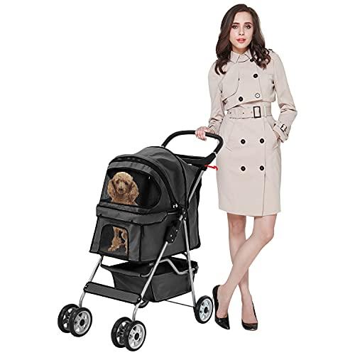 MeetPerfect 4 Wheels Travel Stroller Pet Stroller Dog Cat Pushchair Trolley Puppy Jogger Folding...
