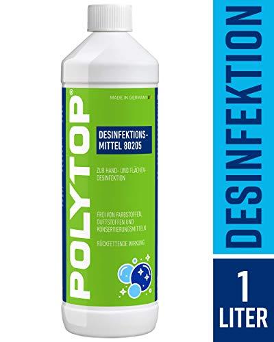 POLYTOP Desinfektionsmittel (1 Liter / 1000 ml) rückfettende Handdesinfektion, Flachendesinfektion, bekämpft Viren, Bakterien, Pilze u.v.m