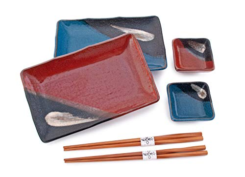 Hinomaru Collection Japanese Dinnerware 6 Piece Sushi Dinner Set Rectangular Sushi Plate Bowl Chopsticks Sushi Dinner Set for Two Made In Japan (Blue Red)