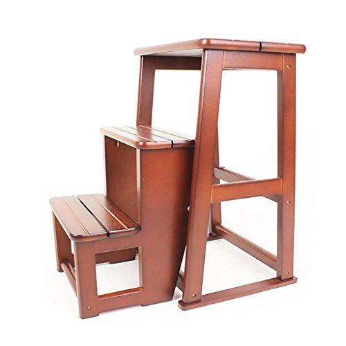 Stool Ladder- Ménage en bois massif escabeau à trois niveaux escabeau multi-fonction chaise pliante échelle tabouret haut tabouret (Couleur : Brown)