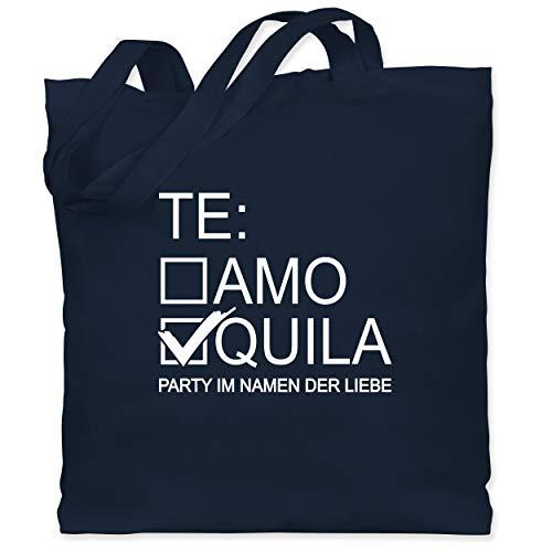 Shirtracer JGA Junggesellenabschied Frauen - Tequila/Teamo - weiß - Unisize - Navy Blau - Alkohol - WM101 - Stoffbeutel aus Baumwolle Jutebeutel lange Henkel