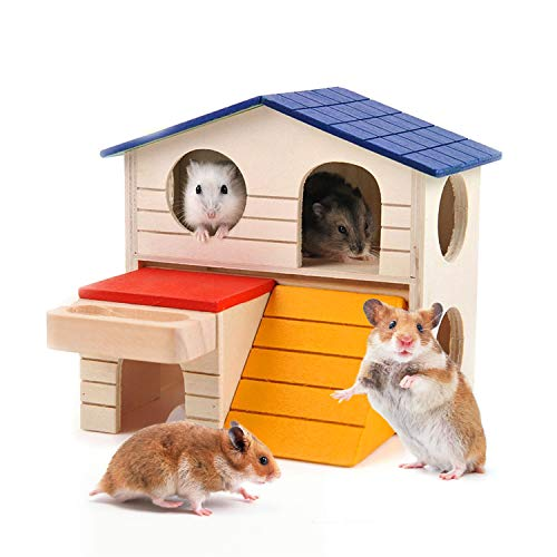 CROWNY Pet Small Animal Hideout Hamster House Deluxe Two Layers Wooden Hut Play Toys Chews
