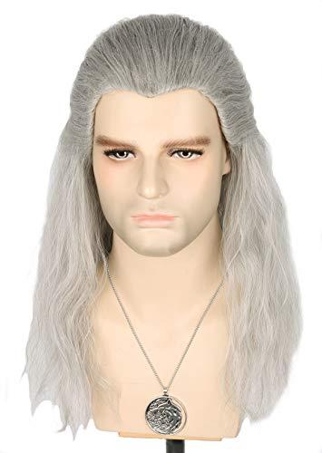 Topcosplay Lunga Parrucca Grigia da Uomo Geralt of Rivia Parrucca Ispirata al The Witcher Cosplay Halloween Parrucca (Grigio)