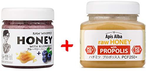 【Amazon.co.jp限定】 はちみつ 蜂蜜 ハチミツ 生 2個組 セット (ブルーベリーハニー200g、プロポリスハニー250+ 390g) Raw Honey Set Blueberry 200g & Propolis PCF 250+ 390g