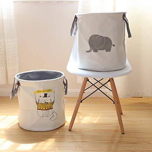 【厚いデザイン】ランドリー バスケット 洗濯かご 撥水加工 綿麻生地 折り畳み式収納 大容量布製雑貨収納ボックス 玩具収納袋 (象)