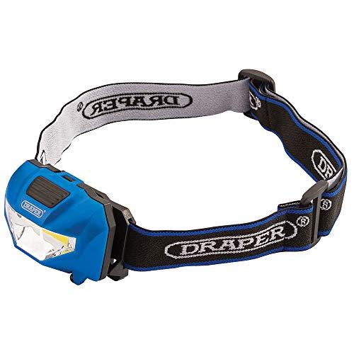 Draper HL17/3W/LE 90072-Linterna Frontal LED COB (3 Pilas AAA Incluidas)